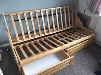 Futon/ sofa/ double sofa bed/ storage drawers /wooden
