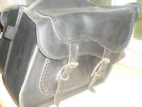 Harley Davidson leather saddlebags USA made with chrome supports
