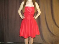 Strapless Red dress with Black Bow
