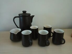 Brown coffee jug and mugs