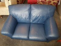 Two Seater Leather Sofa Finished In Blue