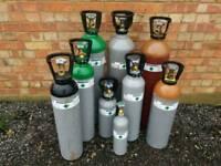 bottles gas, welding , beer, aquarium, balloon