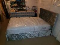 4ft6 double crushed velvet ottoman bed with mattress