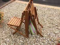 Folding garden table and 2 chairs