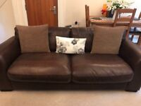 High Quality Brown Leather 3 Seater Sofa & Chair includes Free Scatter Cushions