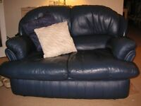 LEATHER SETTEE / 2 seater / in blue