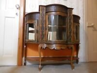 Original Antique French Display cabinet Chiffonier Carved wood Glazed