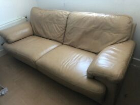 Debenhams Three to Four Seater Leather Sofa Tan/Light Brown