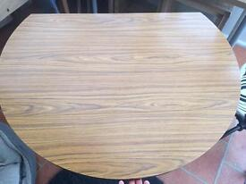 Retro small two leaf round wood effect table