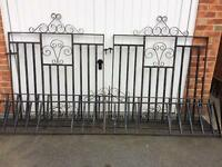 Wrought iron gates 4ft each and two wall toppers
