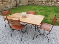 Industrial Style Vintage Solid Oak Waxed Dining Table And 4 Leather Hide Chairs