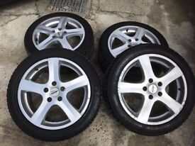 """Winter tyres and 17 """" Alloy wheels to Fit Audi A4 2007-2013 possibly more"""