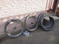 DOWNHILL MOUNTAIN BIKE WHEELS 'SUNRINGLE' WITH TYRES AND TUBES