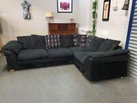 Large Navy Blue Corner Sofa + Free Delivery