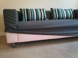 KLIPPAN Two-seat Sofa in Pink (with Flackarp grey cover)