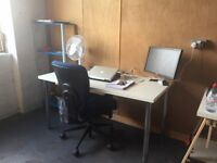 large cheap desk space in cool Dalston studio, no long contracts