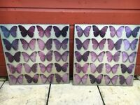 Butterfly wall canvas (x2) from Next