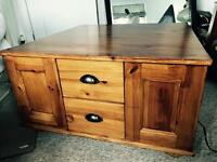 Wooden storage chest coffee table