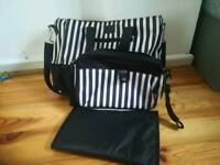 Black and White Stripe Changing Bag