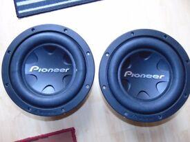 2x pioneer ts-w3004spl 6000watt max 2000 watt rms !!!!!!!! with vibe cbr box