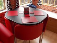 Hygena Amparo Black Dining Table and 4 Red Chairs