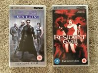 Sony PSP UMD Movies. The Matrix & Resident Evil