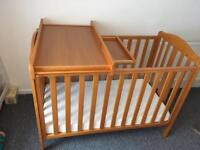 Mothercare cot darlington with changer and waterproof matress
