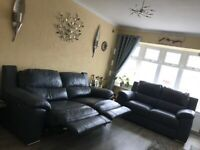 Leather Power Recliner 3 seater sofa & Static 2 Seater Sofa