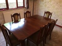 Edwardian dinning room table, chairs with sideboard and display cabinet