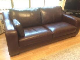 Leather settee and chair for sale