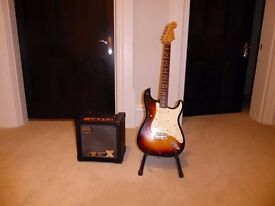 """Mexican Fender Stratocaster - """"Sunburst"""" with Roland Cube 20X - AS NEW"""