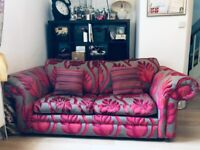 Beautiful pink and grey 3 seater sofa bed