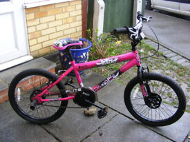 """GIRLS 20"""" WHEEL BMX WITH FITTED STUNT PEGS HARDLY BEEN USED NO RUST"""