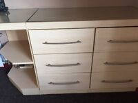 Full set of beautiful fitted beech bedroom furniture, great condition.