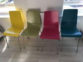 4 John Lewis Chairs (blue, pink, green & yellow)