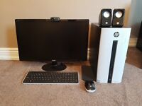 "HP PAVILLION COMPUTER + 25"" MONITOR(inc keyboard, mouse, speakers, webcam)"