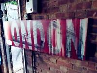 Large industrial style canvas print/painting of London