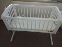 Mothercare Swinging Crib - White with Mothercare Natural Coir Lambswool Crib Mattress