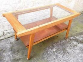 Vintage 1950s oak copper glass coffee table mid century retro
