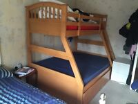Joseph Maple Triple Bunk Bed with 2 storage draws. Good Used Condition