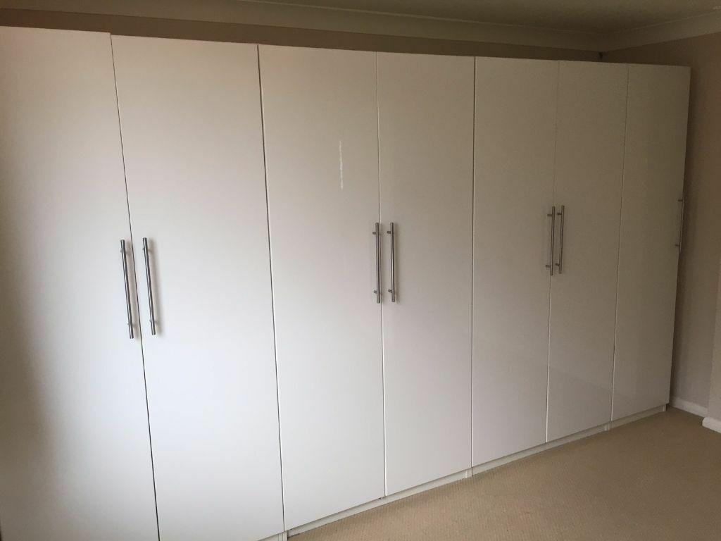 Ikea Pax High Gloss White Wardrobes In Excellent Condition Includes All Interior Organisers