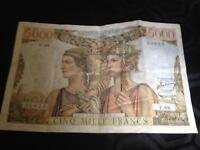 French bank note cinq Mille francs