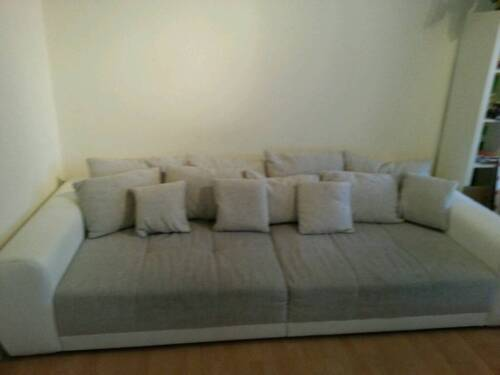 big sofa leder weiss stoff sand in wandsbek hamburg marienthal ebay kleinanzeigen. Black Bedroom Furniture Sets. Home Design Ideas