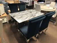 Ex-display Stunning marble dining table and 4 chairs