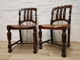 Pair Of Antique Oak Side Chairs (DELIVERY AVAILABLE)