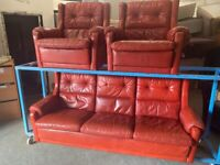 GIMSON SLATER VINTAGE REAL LEATHER 3 PIECE SOFA SUITE OXFORD BLOOD RED