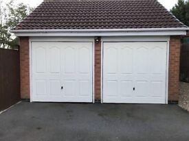 Garage doors x 2 white