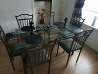 6 Chairs and Glass Dining Table