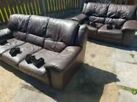 3&2 Chocolate Leather Sofas