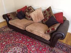 Big brown leather and fabric sofa